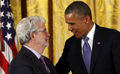 Lucas en president Obama